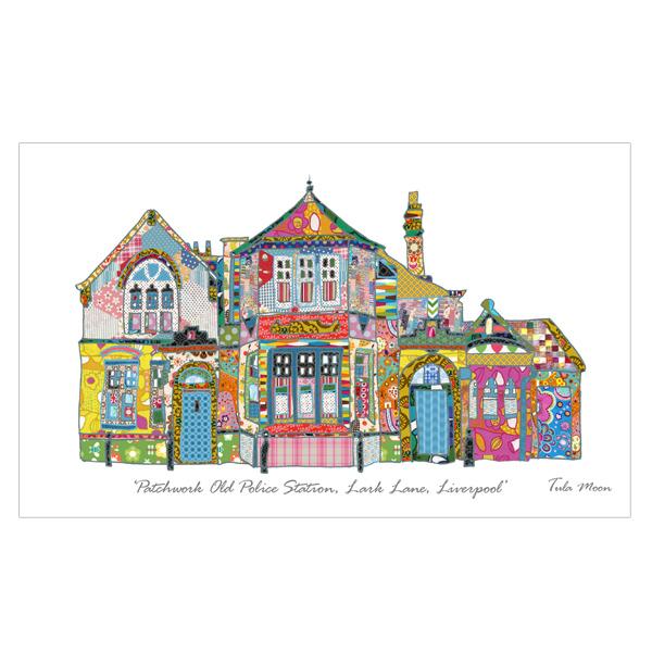 Tula Moon Print, Patchwork Liverpool Liver Buildings