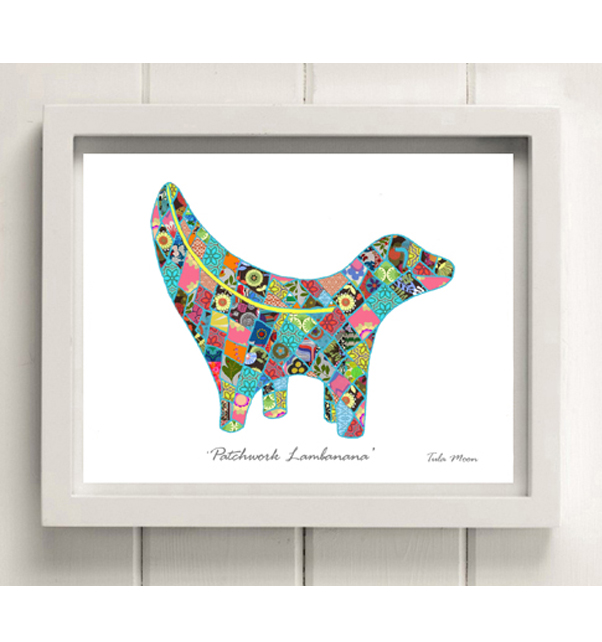 Patchwork Lambanana (Blue) Print