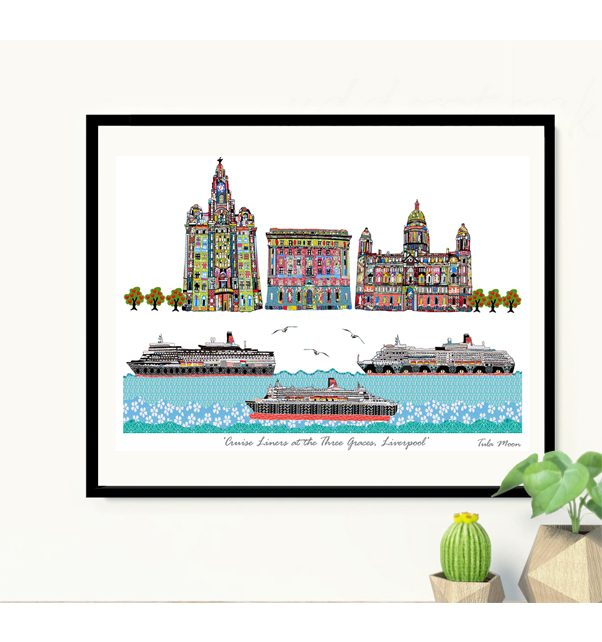 Cruise Liners at the Three Graces Print