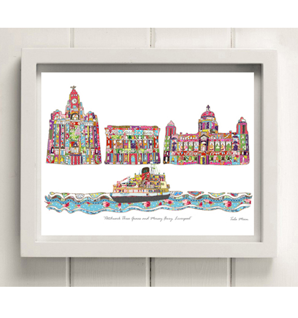 Three Graces and Mersey Ferry Print