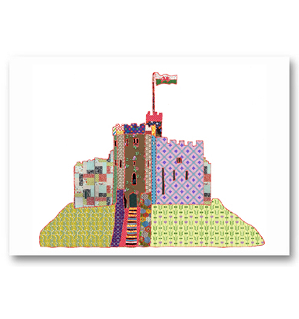 Patchwork Cardiff Castle Keep Card