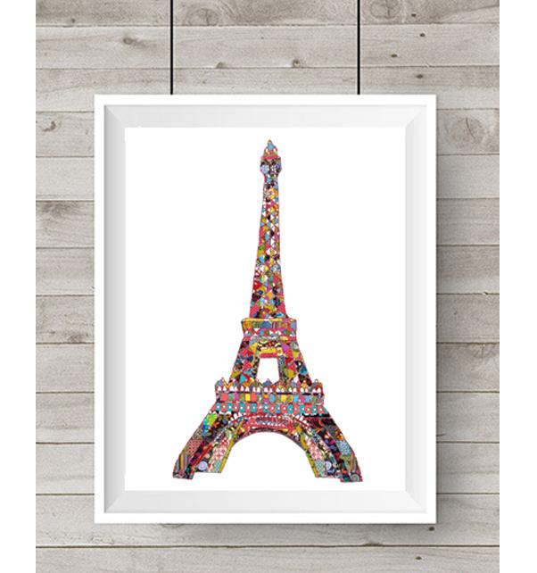 Patchwork Eiffel Tower Print