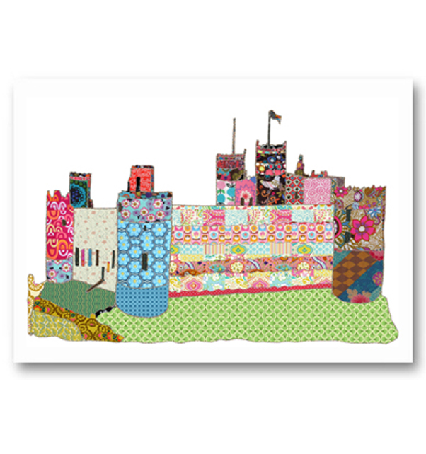 Patchwork Harlech Castle Card