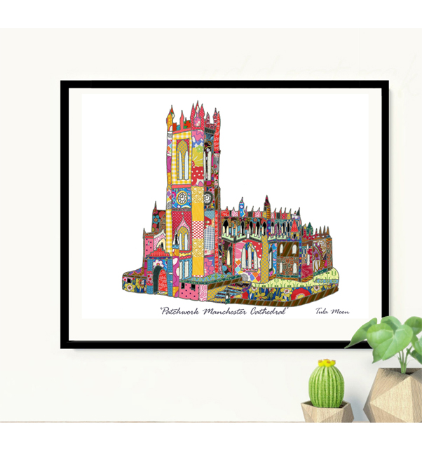 Patchwork Manchester Cathedral Print