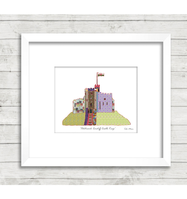 Patchwork Cardiff Castle Keep Print