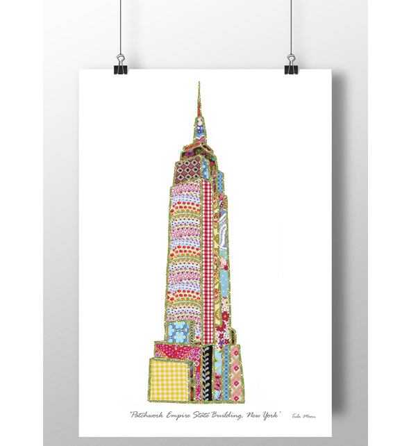 Patchwork Empire State Building New York Print