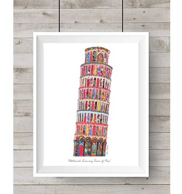 Patchwork Leaning Tower of Pisa Print