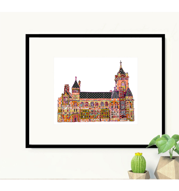 Patchwork Pierhead Building Cardiff Print