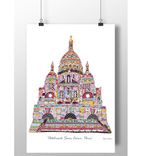 Patchwork Sacre Coeur Paris Print