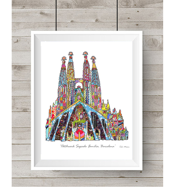 Patchwork Sagrada Familia Barcelona Print