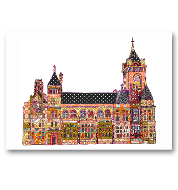 Patchwork Pierhead Building Cardiff Card