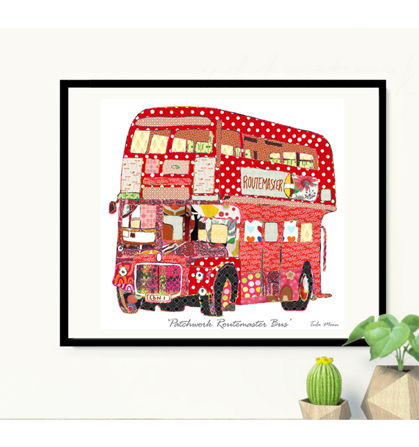 Patchwork Routemaster Bus Print