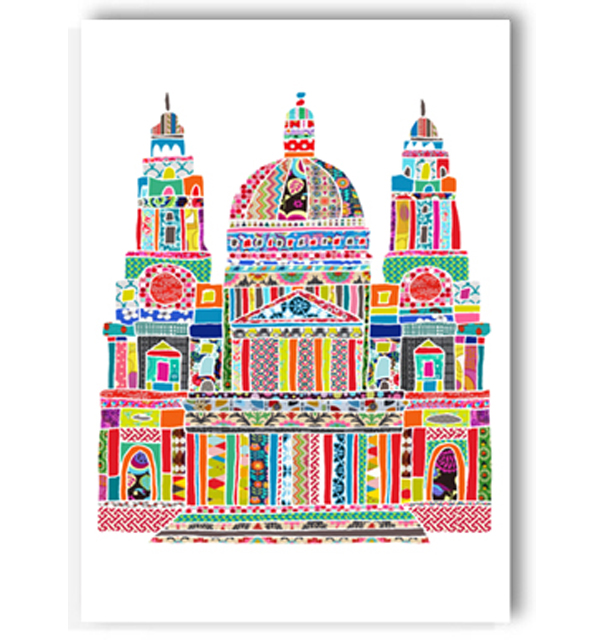 Colourful St. Pauls Cathedral Card