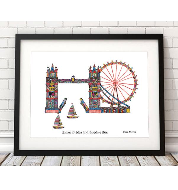 Tower Bridge and London Eye Print