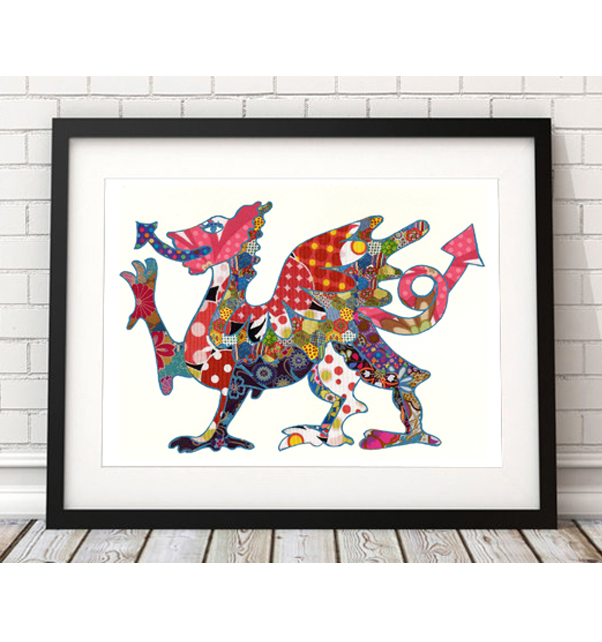 Patchwork Welsh Dragon Print