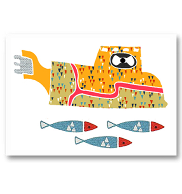 Yellow Submarine and Fish Card