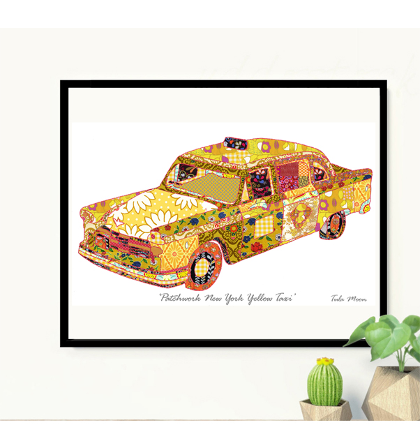Patchwork New York Yellow Taxi Print