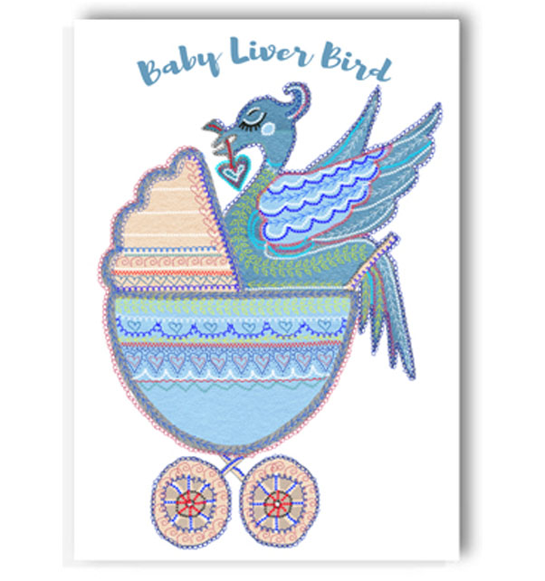 Baby Blue Liver Bird Card