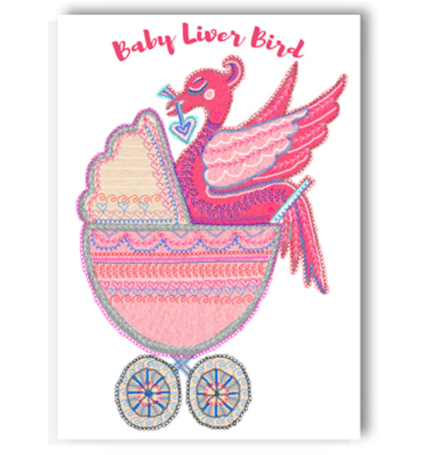 Baby Pink Liver Bird Card