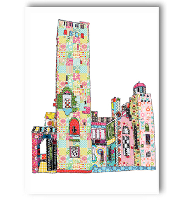 Patchwork Gaskell Tower Knutsford Card