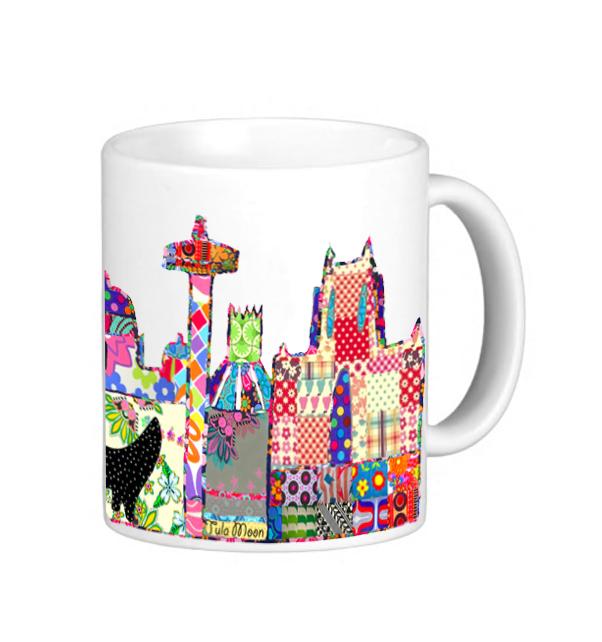 Patchwork Liverpool Skyline Mug