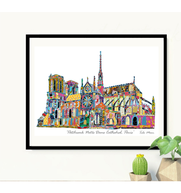 Patchwork Notre Dame Cathedral Paris Print