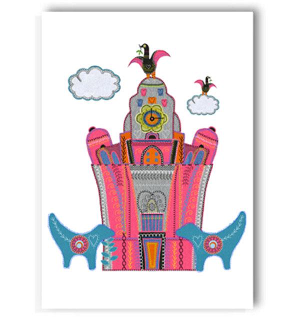 Pink Liver Building Blue Lambananas Card